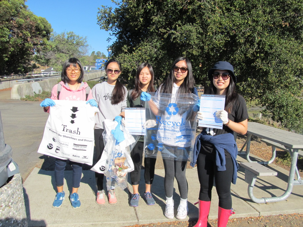 Two miles of the Corte Madera Creek estuary are 148 lbs. cleaner of trash, thanks to volunteers who turned out on California's Coastal Cleanup Day in September, an event presented by the Coastal Commission, the California State Parks Foundation and the Ocean Conservancy. Students from San Domenico School, pictured, comprised many of the local volunteers, organized by Nick Salcedo of Friends of Corte Madera Creek Watershed. Photo by Ann Thomas